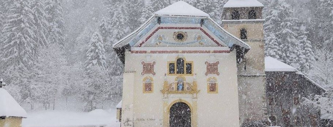 Eglise baroque <strong> sous la neige</strong>